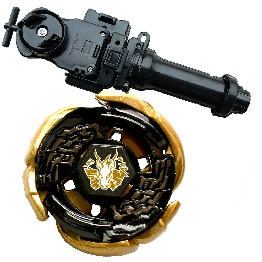 Lots 4D WBBA Top Rapidity Metal Fusion Fight Master Gold L-Drago Game with Metal Fusion Fight Power Launcher Black + Launcher Grip Set CHINA