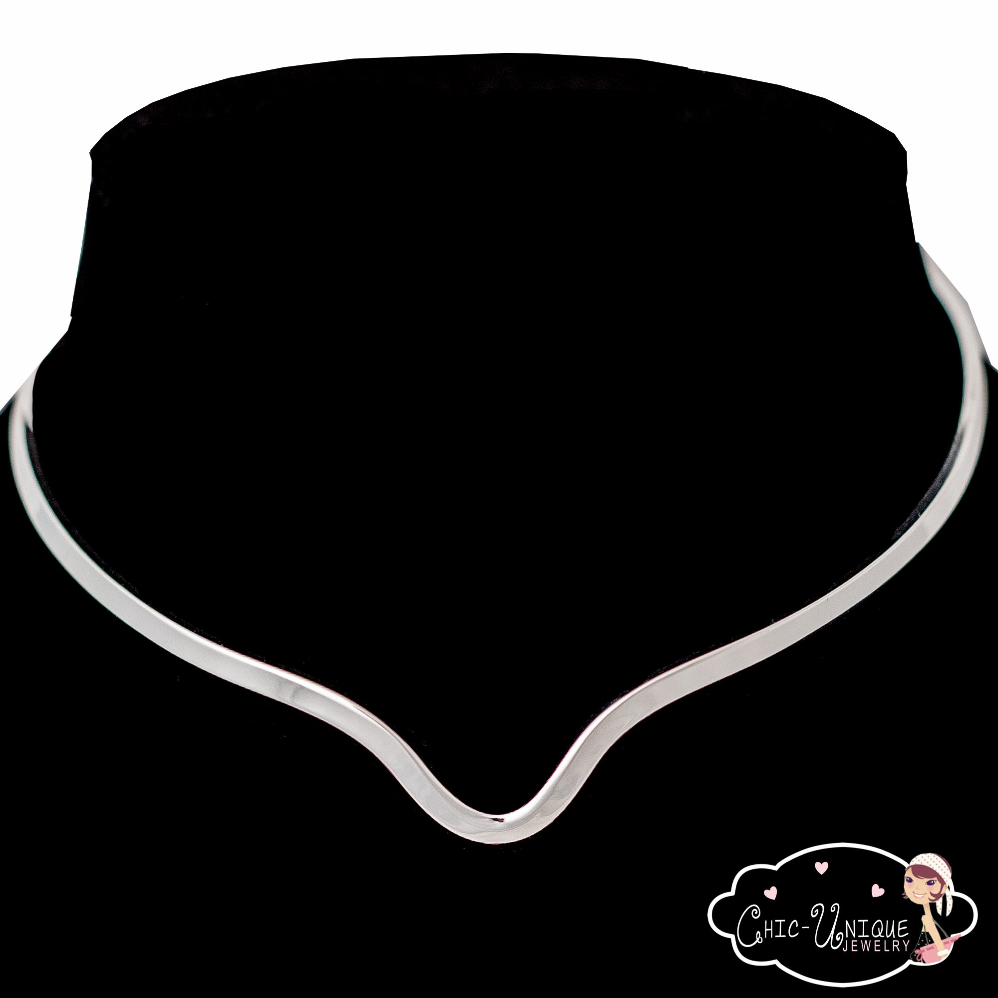 New Shiny Silver Notched Choker Collar Necklace Wire Average Size (CV12) by Chic Unique Jewelry (Image #2)