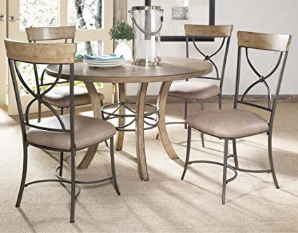 Hillsdale Charleston 5 Piece Round Wood Dining Set W/X Back Chairs