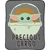 Jay Franco Star Wars The Mandalorian Curious Child Throw - Measures 46 x 60 inches, Kids Bedding Features The Child Baby Yoda - Fade Resistant Super Soft Fleece (Official Star Wars Product)