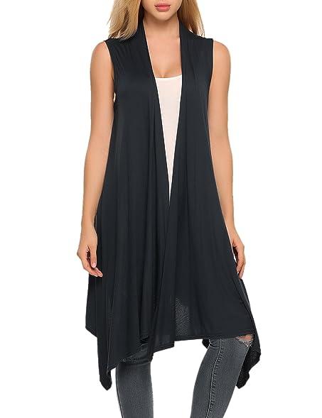 Zeagoo Women's Sleeveless Asymmetric Open Front Drape Long ...