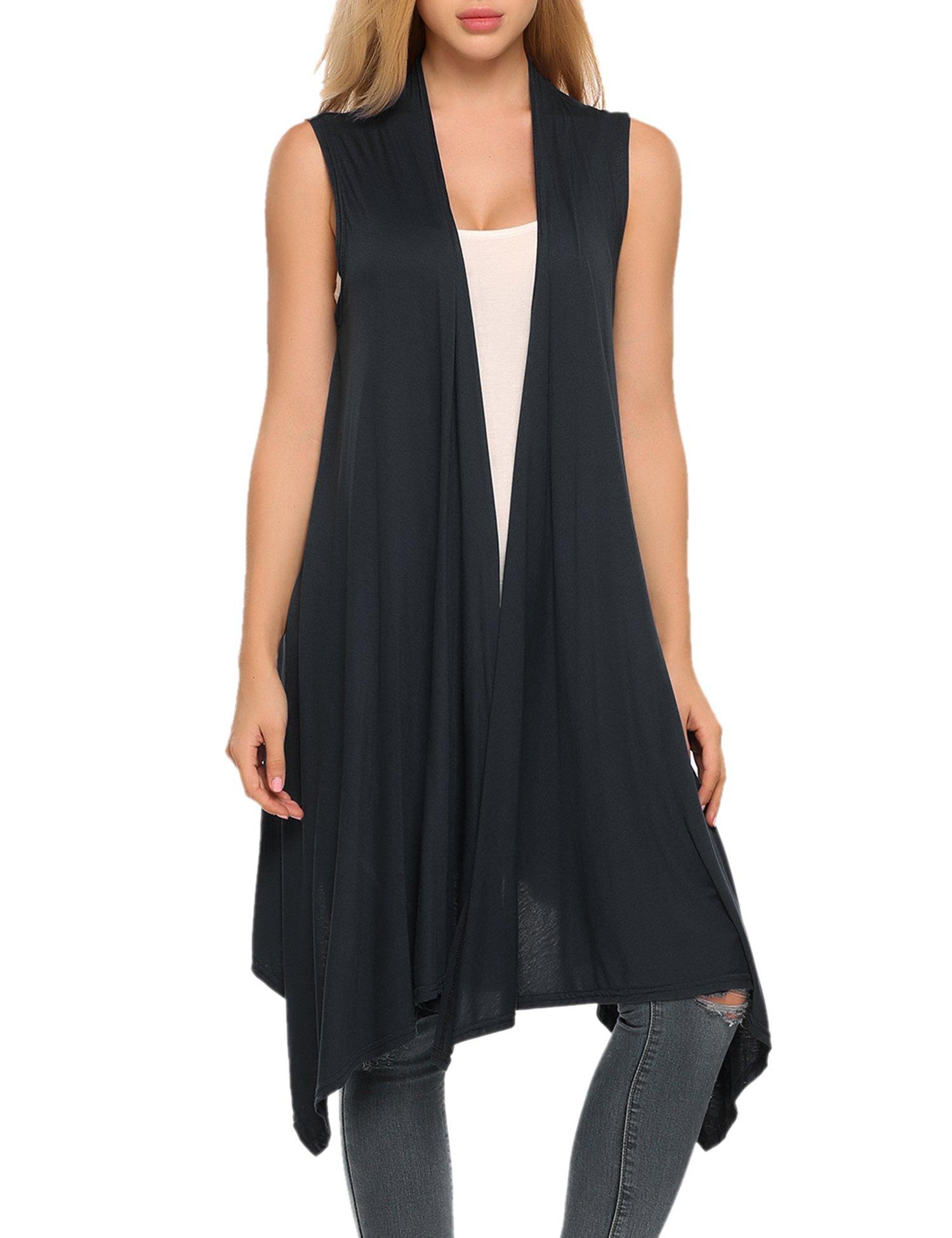 Zeagoo Women's Casual Solid Sleeveless Asymetric Hem Open Front Cardigan Top Black XL