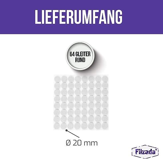 Filzada/® 64x Filzgleiter Selbstklebend Profi M/öbelgleiter Filz Mit Idealer Klebkraft /Ø 20 mm rund - Braun