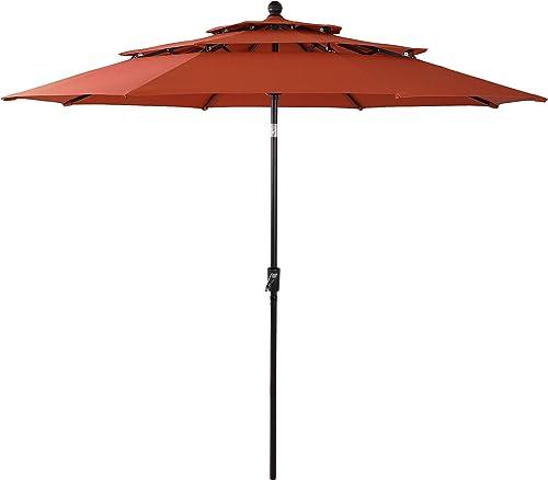 PHI VILLA 10ft 3 Tier Auto-tilt Patio Umbrella Outdoor Double Vented Umbrella
