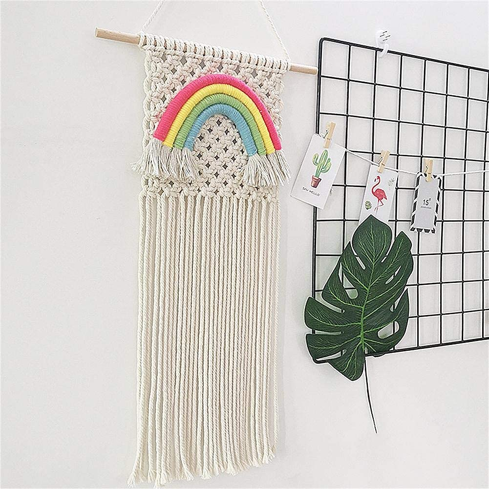 Colorful Rainbow Macrame Wall Hanging Tapestry,Handmade Woven Cotton Tapestry Boho Wall Art Bohemian Home Decor for Nursery Room,Bedroom,Living Room