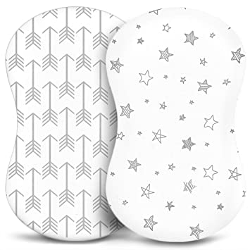 Amazon Com Bassinet Sheets Fitted Premium Jersey Cotton Baby Bedside Sleeper Cover Universal Sheet Set For Rectangle Oval Or Hourglass Bassinet Mattress White 2 Pack For A Girl