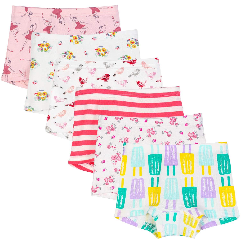 BOOPH 6-Pack Soft Cotton Little Girls Underwear Baby Toddler Panties Boyshorts Kids Briefs Hispster 4-5 Year (Style C)