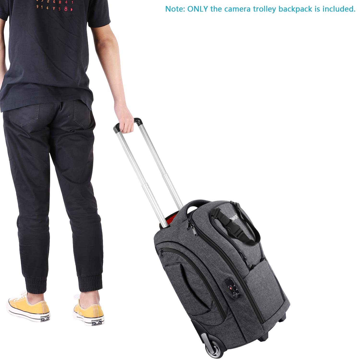 Neewer 2-in-1 Camera Rolling Backpack Trolley Case with TSA Lock, Anti-Shock Detachable Padded Compartment, Hidden Pull Bar, Durable, Waterproof for Lens, Lens Hood, and Tablet (Grey/Red) by Neewer (Image #5)