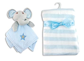 7e5ca4a4be Amazon.com  Ultra Soft Fleece Baby Blanket With Snuggly Elephant Security Blanket  Set (Light Blue)  Baby