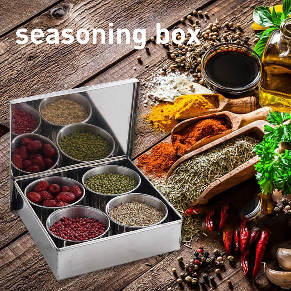 Caja de Especias de Acero Inoxidable con Tapa Redonda personukXD Caja de Especias para condimentos Juego de condimentos y tarros de Cocina para el hogar