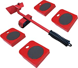 LCPCX Furniture Mobile Lifter, Furniture Mobile Tool kit, with 4 Removable Roller Blocks, 360 Degree rotatable pad, Single Operator Mobile Slider Tool, red