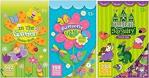 Kids Summer Garden Sticker Books- Butterfly Garden, in The Garden, and Garden Royalty- Over 1100 Stickers!