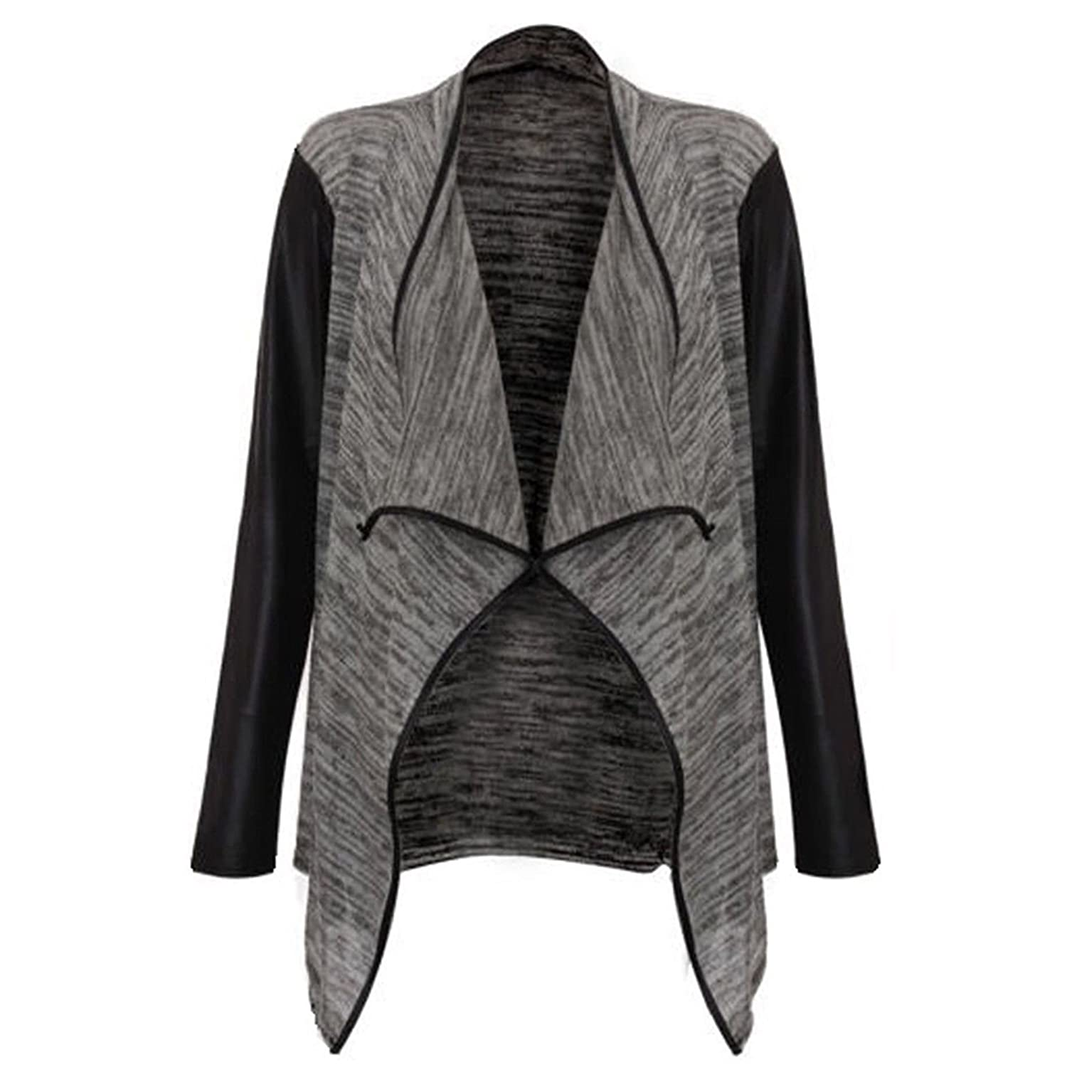 Open Waterfall Cardigan With Faux Wet Leather Look PU PVC Sleeves ...