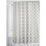 "InterDesign Trellis Fabric Shower Curtain - 72"" x 72"", Stone Gray/White"