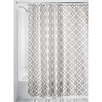InterDesign Trellis Fabric Shower Curtain   72u0026quot; X 72u0026quot;, Stone Gray/ White