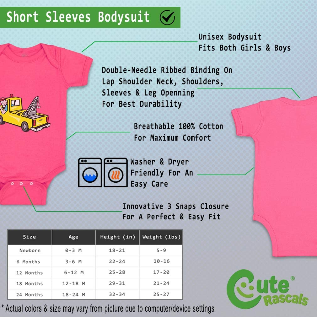 Custom Personalized Boy /& Girl Baby Bodysuit Man in Towing Car Cotton Baby Clothes