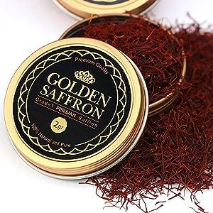 Golden Saffron, Finest Pure Premium All Red Saffron Threads, Grade A+, Highest Grade Saffron For Tea, Paella, Rice, Desserts, No artificial, No Preservatives (2 Grams)