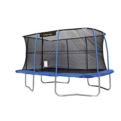 JumpKing 10 x 14 Foot Rectangular Trampoline with Safety Net Enclosure, Blue : Sports & Outdoors