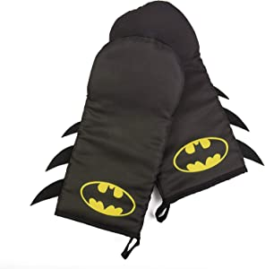 DC Batman Oven Mitt Set with Bat Symbol Design - Heat Resistant - 100% Cotton - Pair