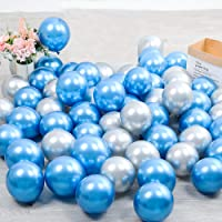 100pcs 5inch Tiny Blue Silver Chrome Metallic Latex Balloons for Birthday Party Bridal Baby Shower Engagement Wedding…