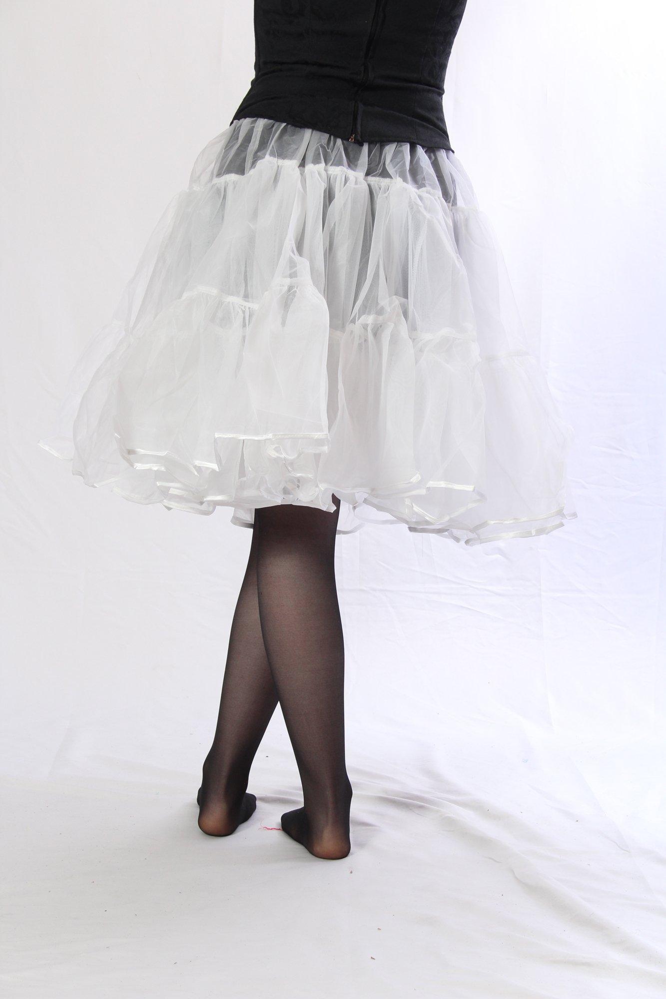 Petticoat Crinoline. Perfect Petticoat Skirt for Vintage Dresses, Petticoat Dresses, Poodle Skirts as Rockabilly Adult Tutu Skirt. Tulle Fabric; 22' Length - White Petticoat by BellaSous (Image #3)
