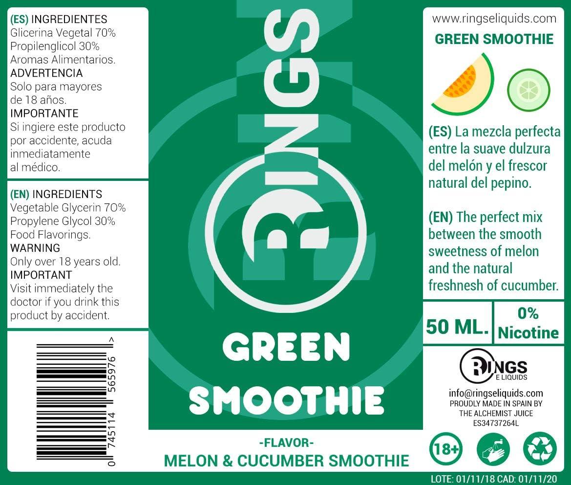 Rings E-Liquid Green Smoothie 50ml 70VG/30PG Liquido vaper sabor ...