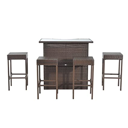 Amazon Com Outsunny 5 Piece Outdoor Patio Rattan Bar Set Garden