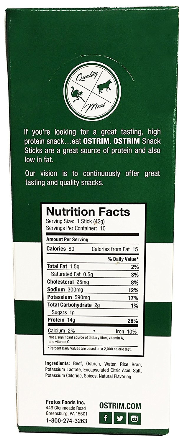 Ostrim Beef Ostrich Snack Stick Natural Flavor Pack Of 20 Beauty Barn Series Package 5 Gr
