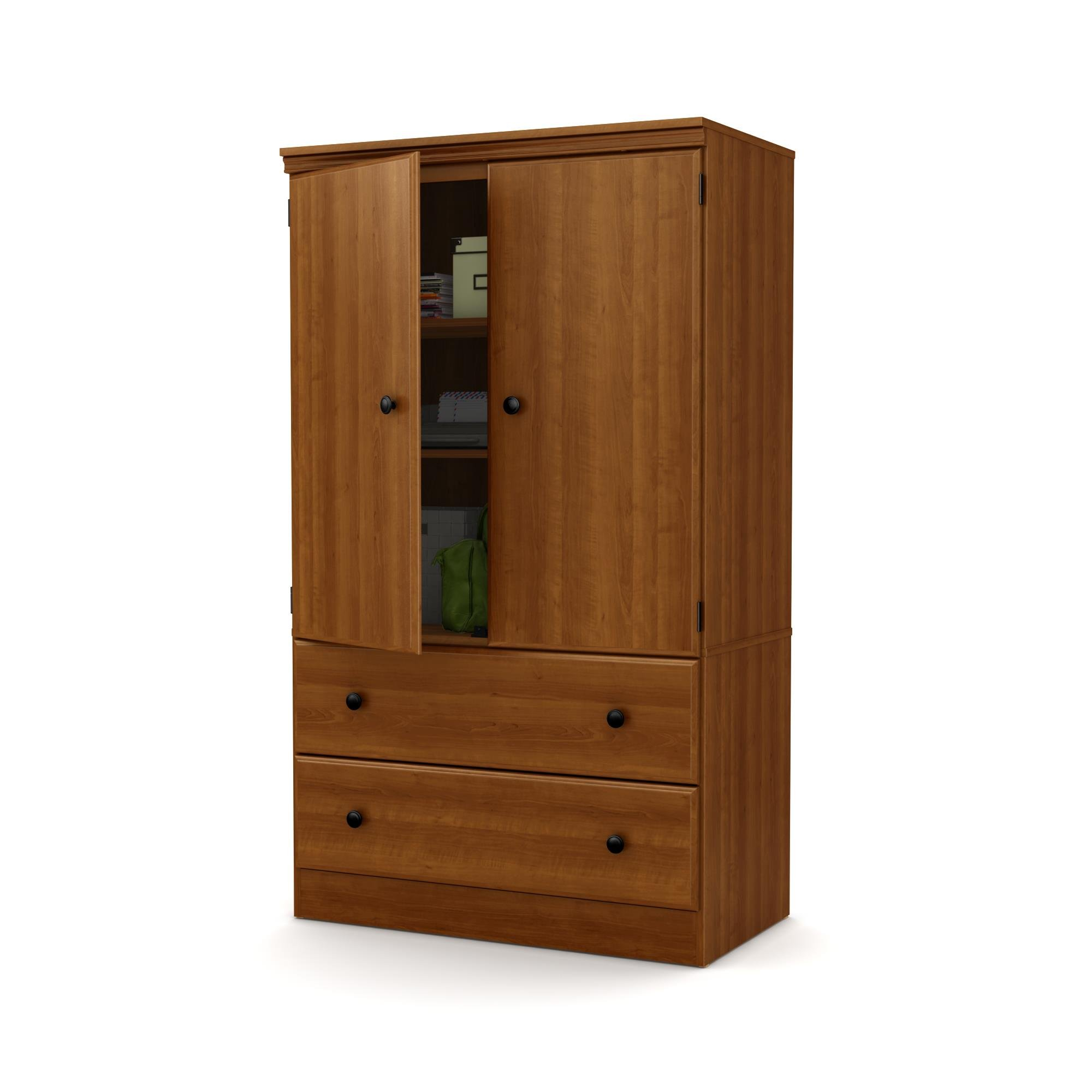 South Shore Morgan 2-Door Armoire with Drawers, Morgan Cherry