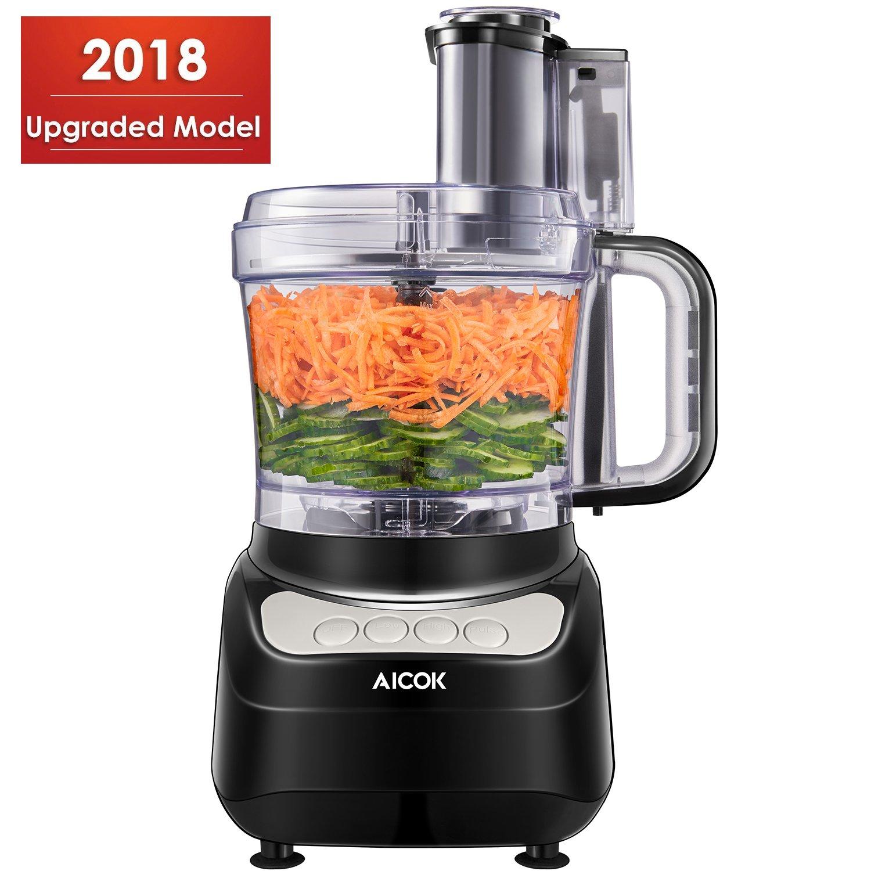 Food Processor 12-Cup, Aicok Multi-Function Food Processor, 1.8L, 3 Speed Options, 2 Chopping Blades & 1 Disc, Safety Interlocking Design, 500W, Black