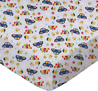 product image for SheetWorld Fitted 100% Cotton Percale Play Yard Sheet Fits BabyBjorn Travel Crib Light 24 x 42, Cars & Dogs, Made in USA