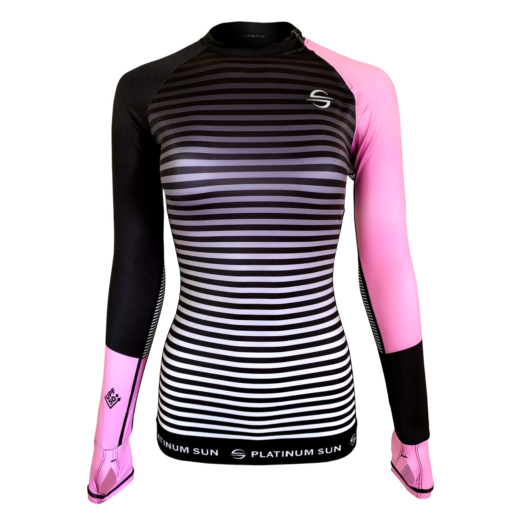 Women's Rash Guard Swim Shirt Long Sleeve Swimsuit Top Bathing Swimming Shirts - Sun Protection Clothing UPF 50+ (Pink-Stripes, L) by Platinum Sun