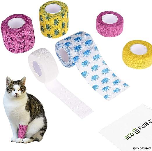 Vendaje Autoadherible - Cinta para Heridas para Gatos - Paquete de 6 - Apoya los Músculos y las Articulaciones -