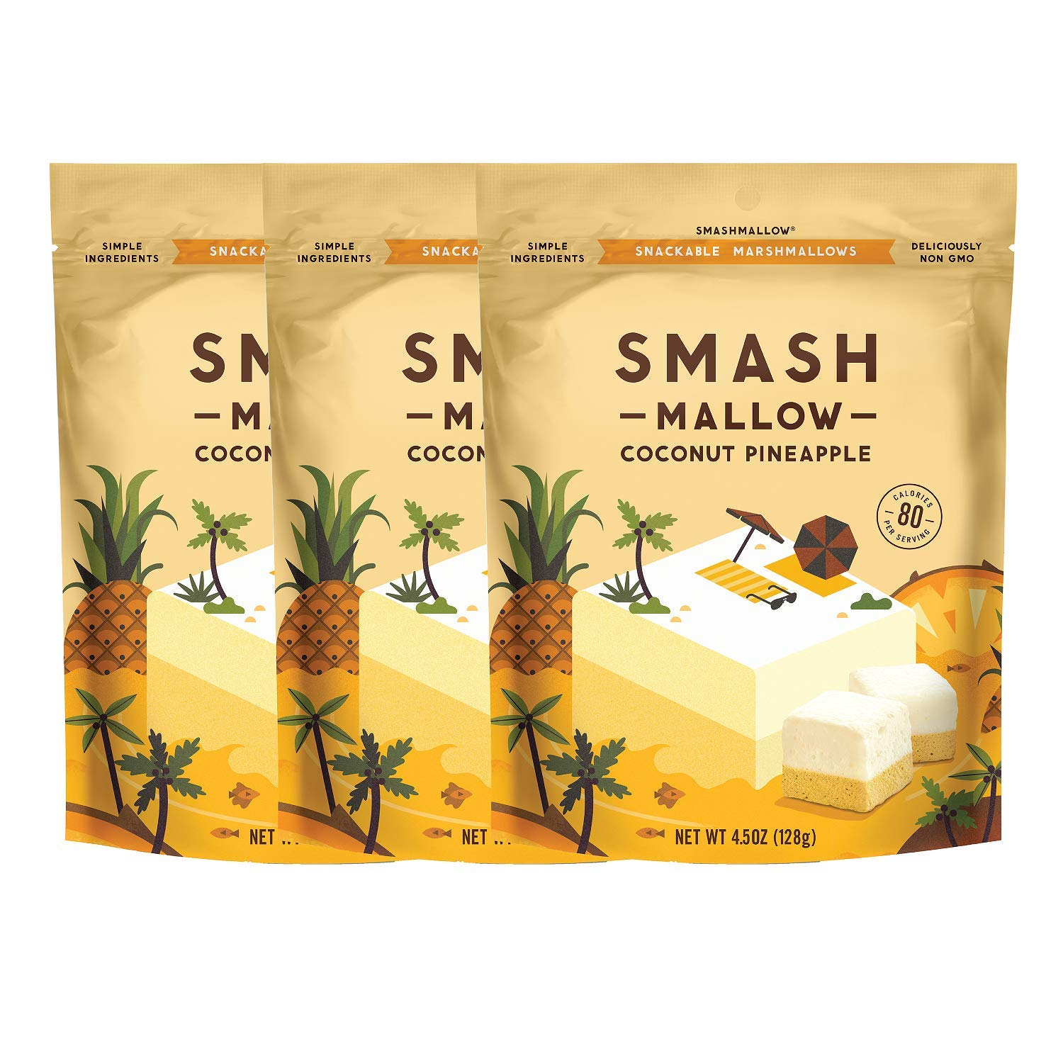 Coconut Pineapple by SMASHMALLOW | Snackable Marshmallows | Non-GMO | Organic Cane Sugar | 100 Calories | Pack of 3 (4.5 Ounces each Pack) by Smashmallow