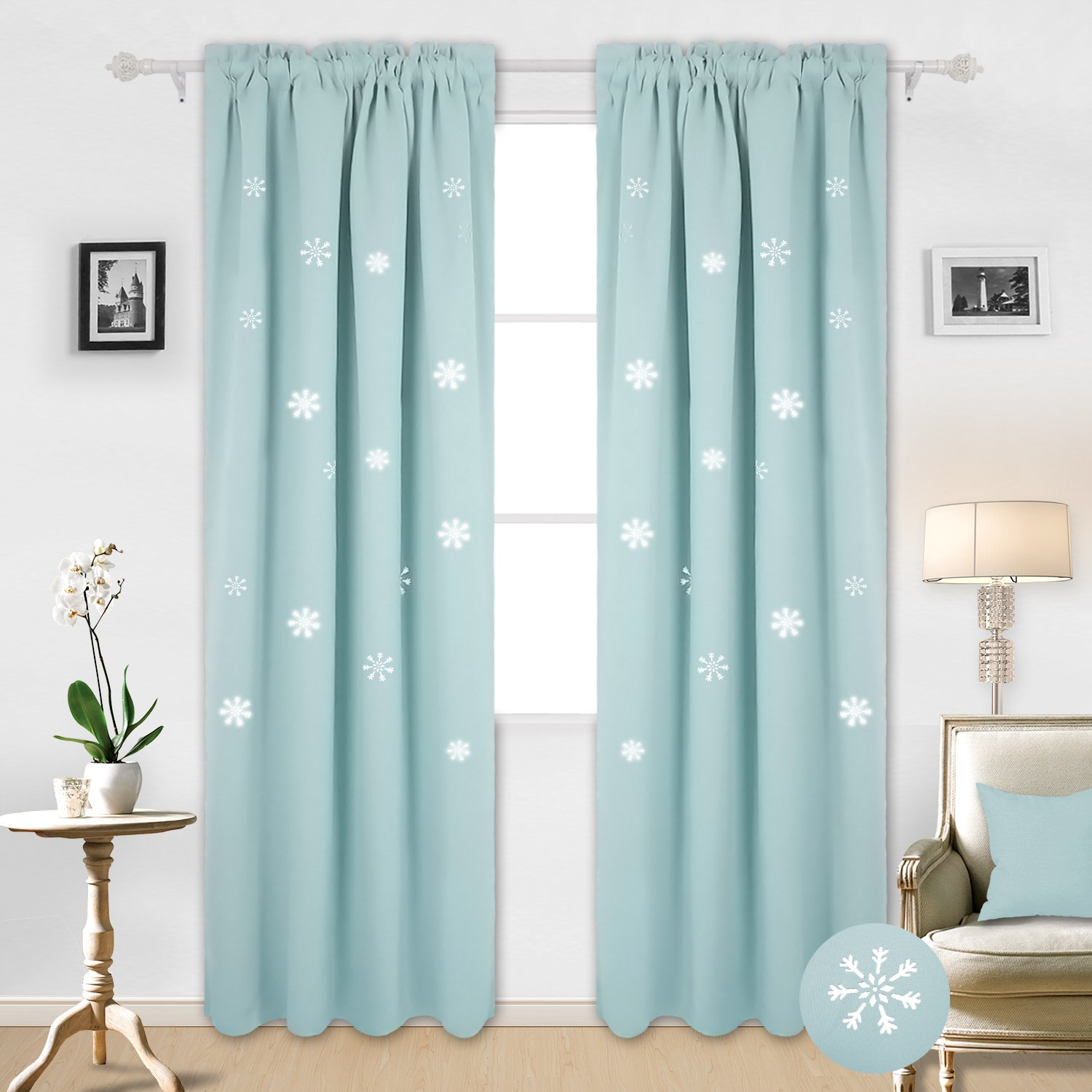 Deconovo Blackout Curtains Gradient Morrocan Pattern Window Drapery Grommet Thermal Insulated Curtains for Bedroom Azure Blue 42W x 63L Inch 1 Panel
