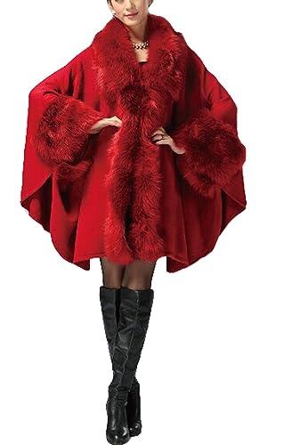 plaer Mujer Borde De Piel Sintética Fox Cabo mezcla de lana capa perchero de pared de invierno Plus ...