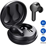 Tribit FlyBuds NC Active Noise Cancelling Wireless Earbuds - ENC 4 Mics AI Noise Reduction for Clear Call Transparency Mode Touch Control Over 10Hrs Playtime per Charge True Wireless Earbuds, Black