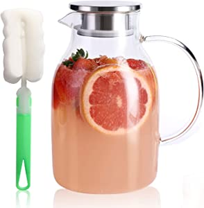 Kanwone 75 Ounces Glass Pitcher with Lid, Hot/Cold Water Jug, Juice and Iced Tea Beverage Carafe