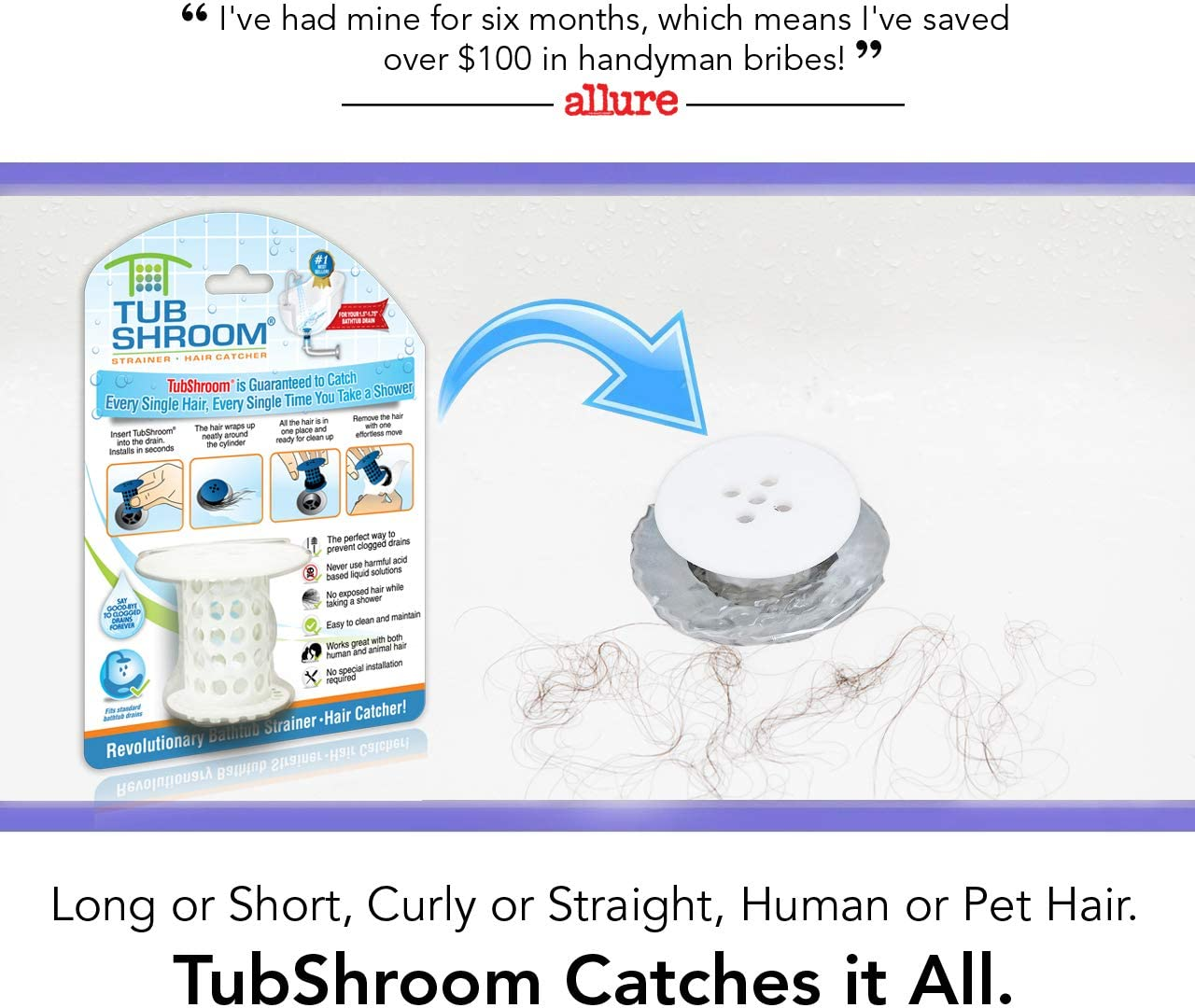 TubShroom The Revolutionary Tub Drain Protector Hair Catcher/Strainer/Snare, White