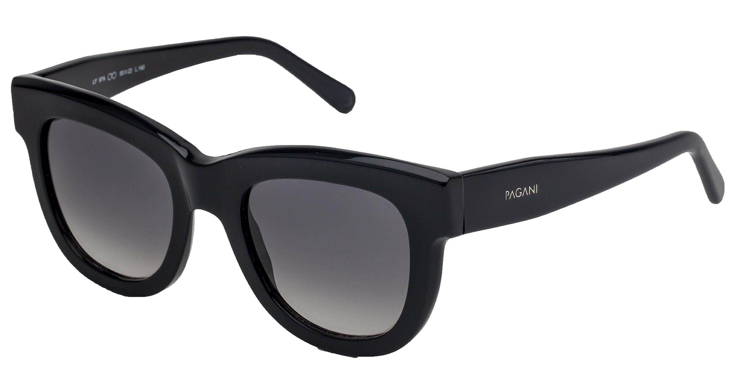 PAGANI Fiore Italian Designer Sunglasses for Women - Flexible Prescription Ready Frames - Unique Colors and Exclusive Designs - Includes Authentic Pagani Premium Case (Marble, Black) by PAGANI