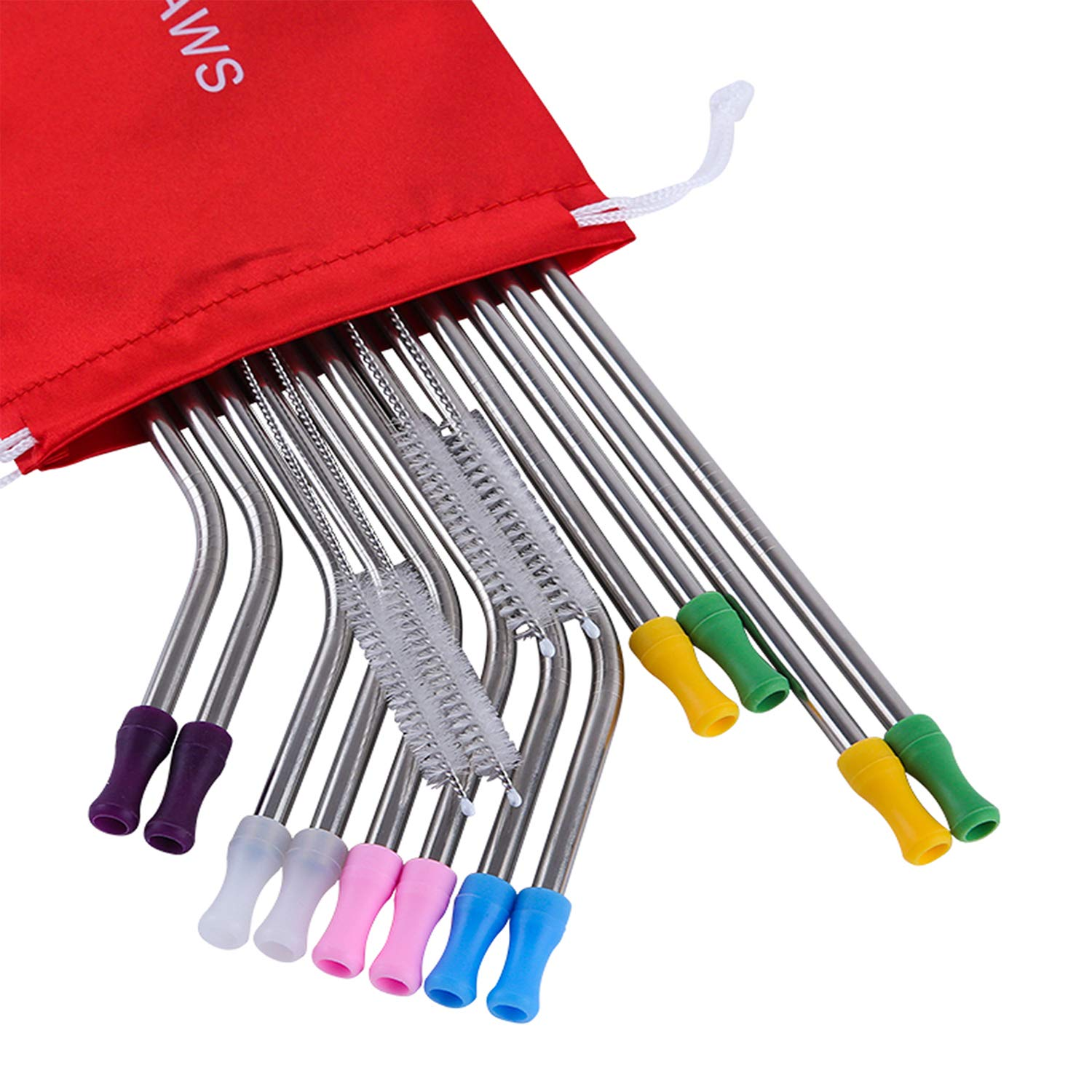 Mcool 12Pcs Variety Size of Stainless Steel Straws for 20&30OZ Yeti/Rtic/Ozark Tumblers +12Pcs Silicone Tips+4Pcs Brushes+ 1 Red Storage Pouch by Mcool