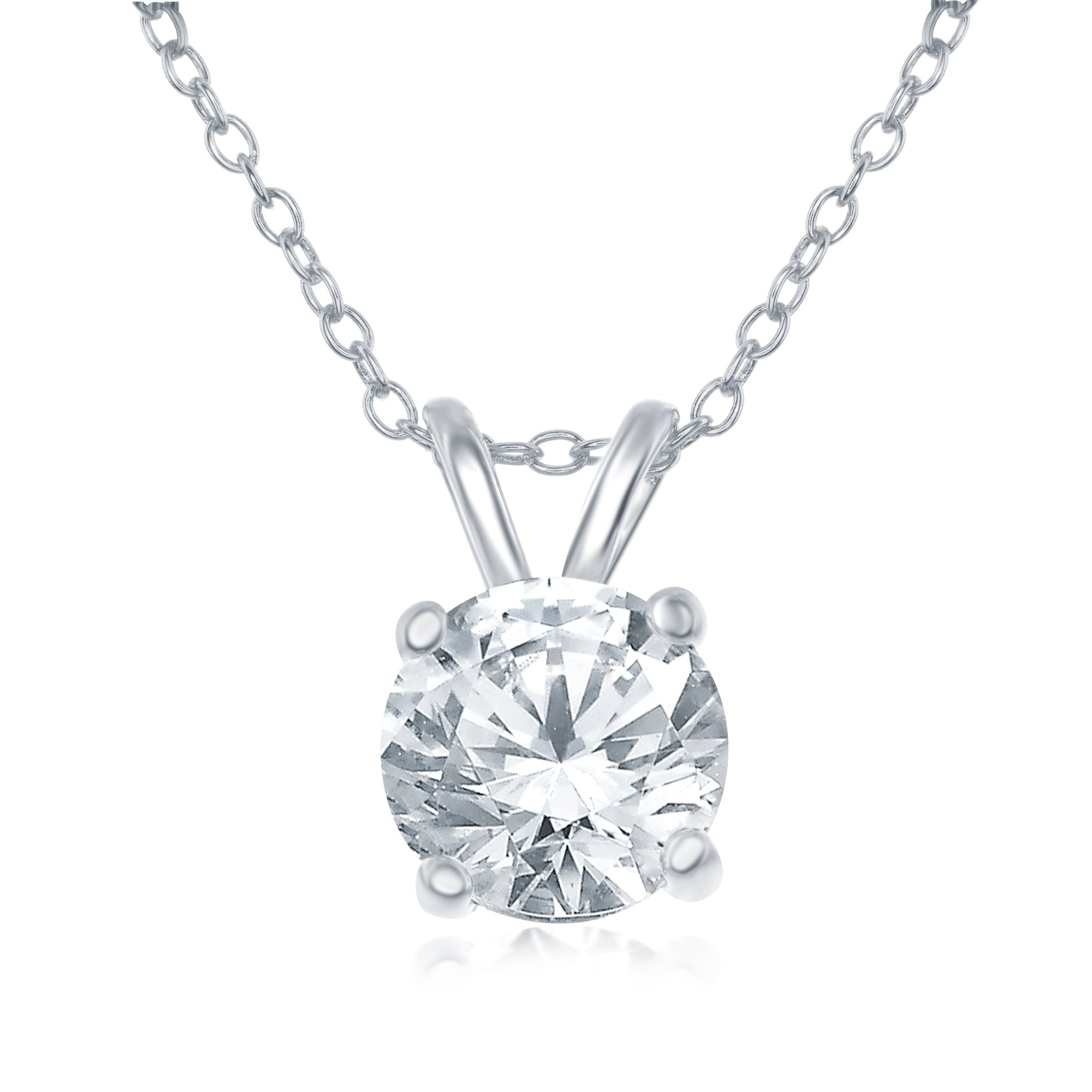 AceLay Sterling Silver 925 Round Cut Clear Cubic Zirconia CZ Choker Pendant Necklace for Women 18'' (Silver)