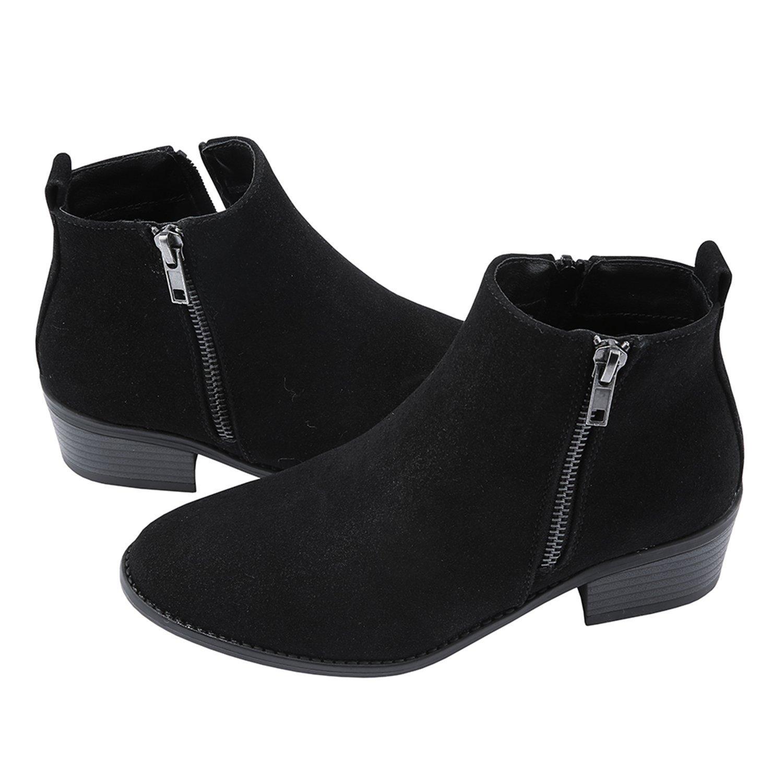 PiePieBuy Women's Top Fashion Pointed Toe Wedge Ankle Booties Chunky Low Heel Boots Waterproof Shoes