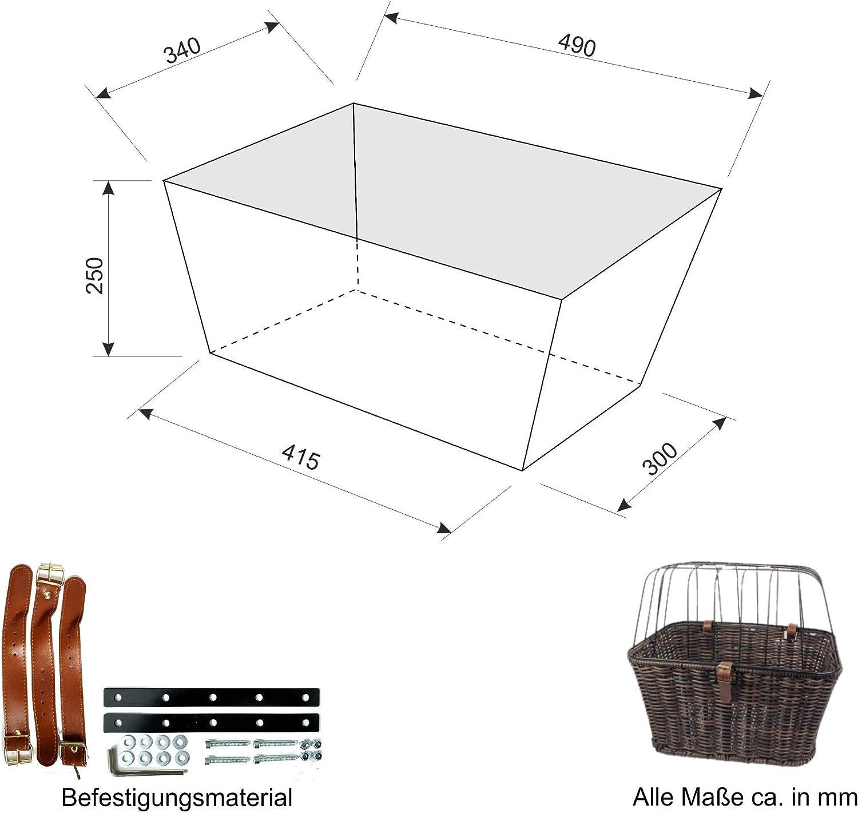 Tierkorb Kunststoff Schutzgitter Dunkelbraun maxxi4you Fahrrad Gep/äcktr/ägerkorb Hunde