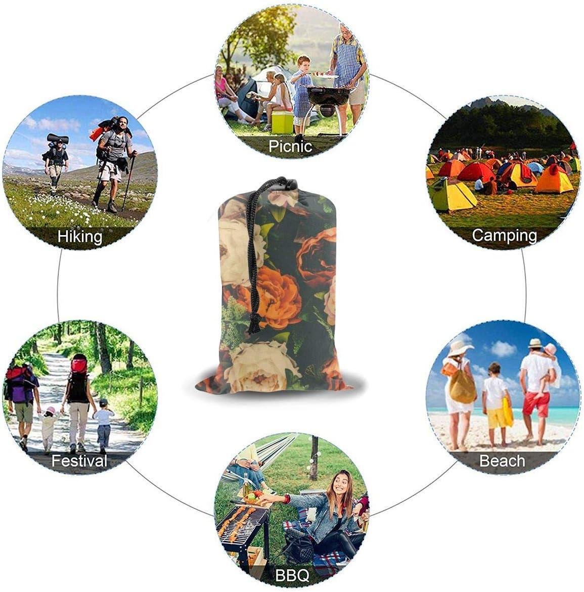 Tappetino da picnic in stile bohémien, stile tribale, da campeggio, portatile, impermeabile Bellissimo fiore vintage.