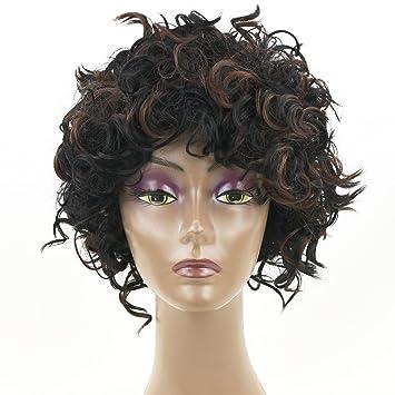 Peluca Para Mujer Pelo Corto Y Rizado Colores Mezclados Peluca De Pelo Rizado Pelucas Moda Natural