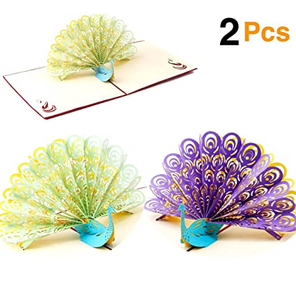 Amazon Ohill 2pcs 3d Pop Up Peacock Birthday Card For Wife