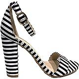 Bamboo Frenzy-20S Ankle Strap Block Heel Open Toe Canvas Sandal Stripe Black & White