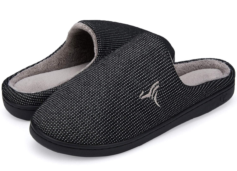 VIFUUR Mens Indoor Memory Foam Slippers Plush Lining Anti-Skid House Shoes