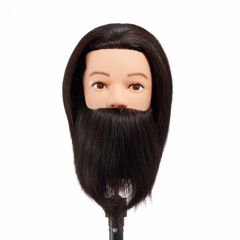 Hairginkgo 100% capelli umani testa di manichino maschile con barba , 8–25, 4cm di manichino formazione testa nero (9001D0208) 8-25